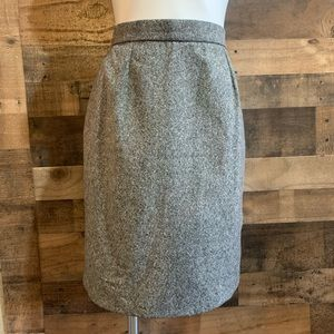 YSL Black White Tweed Wool Cashmere Pencil Skirt
